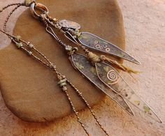 Resin and Silver Willow Leaves Talisman by DesertTalismans on Etsy