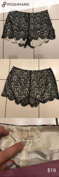 Lush high mid-rise lace shorts Lush size large lace shorts. Mid-rise, hits just below the belly button. The underlay is cream with black lace. These run small- fit closer to a size 8. Lush Shorts