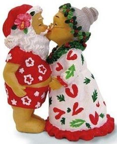 Buns Of Maui - Hawaiian Christmas Ornament Kissing Santas, $11.49 (http://www.bunsofmaui.net/hawaiian-christmas-ornament-kissing-santas/)