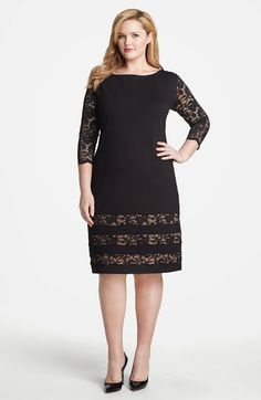 ABS by Allen Schwartz Lace Detail Sheath Dress (Plus Size) available at - - ABS by Allen Schwartz Lace Detail Sheath Dress (Plus Size) available at 2019 New Collection Models Ladies-Receive New and Up-to-Date News F. Dress Plus Size, Plus Size Outfits, Xl Mode, Looks Plus Size, Mode Chic, Plus Size Kleidung, Dress Patterns, Sheath Dress, Beautiful Outfits