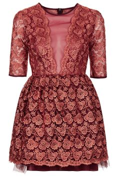 Rosey red lace, organza and net dress by Jones & Jones at Topshop. Bit of a modern fairytale piece.