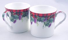 Pair English Premium Fine China Mugs  Red Plaid Scottish Tartan and Thistle  Set of Two ** Check out this great product. (This is an affiliate link) #CoffeeMug