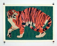 Jungle Beast, Sumatran Tiger. Large Handmade Sikscreen Print. by AliciaMakes on Etsy