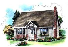 really like layout... except no garage Elevation of Cape Cod House Plan 98895