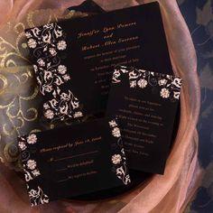 Printable Vintage Flowers Black Wedding Invites For Garden Weddings EWI111 as low as $0.94