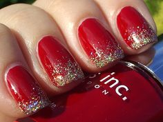 base in Nails Inc deep, red Tate, and Claire's Gold Holographic Glitter Topcoat on the tips
