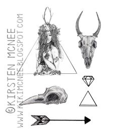 Nature Girl Temporary Tattoos set // animal skulls, girls and geometric shapes by KikiIllustrations, £4.00