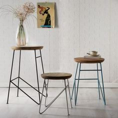 Metal Rustic Bar Stools, handmade from urban Eco friendly designers using reclaimed wood, best designs for barn conversion furniture at Smithers Oak Furniture House, Iron Furniture, Farmhouse Furniture, Furniture For You, Furniture Making, Living Room Furniture, Wooden Furniture, Furniture Stores, Cheap Furniture