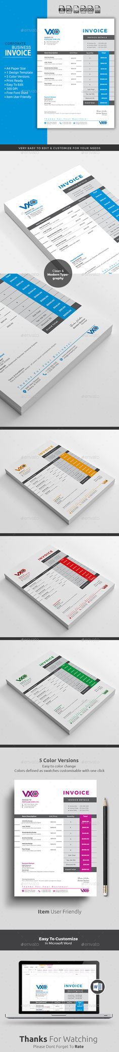 Invoice Template PSD, AI, EPS, DOCX, DOC, XLSX Download here - professional quotation template