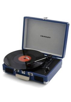 Take Your Turntable in Blue - Make the case for classic tunes and timeless style by packing this petite turntable and your favorite LPs