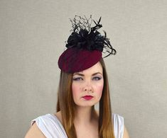0f506a7807f91 Burgundy Felt Hat with Leather Flowers and Veil - Cocktail Hat - Fascinator  Hat - Mother of the Groom hat - Mother of the Bride