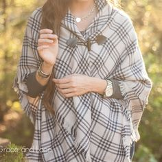 Mama Gracie's Pregnancy Shop & Spa > blanket scarf/toggle poncho in navy striped plaid™