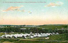 Fort Riley Kansas KS 1908 Headquarters Camp Field Hospital Vintage Postcard Fort…