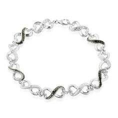 "Black and White Diamond Accented Infinity Bracelet in Sterling Silver 7.5"" Netaya,http://www.amazon.com/dp/B004EEWA7E/ref=cm_sw_r_pi_dp_fjBJrb1695414BAD"