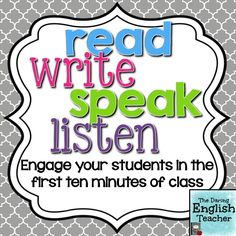 Engage your students in the first ten minutes of class. #ELA