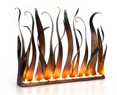 Metal Candle Holder  - Tabletop Sculpture / Fireplace Insert For Tea Lights Or Candles With Copper Patina on Etsy, $191.73 CAD