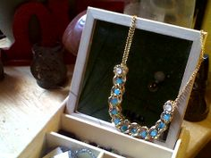 saphire glass beads and a gold neckline finish just in time for spring