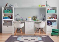Zona de estudio doble para habitación infantil