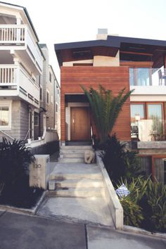 Long skinny California style home - wood, glass and cement