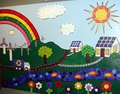 Bottle Cap Art Mural | Bottle cap mural displayed at Rolla Recycling Center