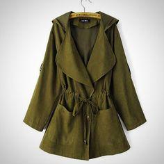 Visnxgi Spring Autumn Jacket Long Jackets Coats Coat Casual Army Green Bomber Jacket Women Basic Outwear Jackets S-Xl Raincoats For Women, Outerwear Women, Long Jackets, Jackets For Women, Long Coats, Amazon Mode, Trench Jacket, Trench Coats, Hooded Jacket