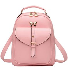 How nice Cute Girls' Bow Buckle Student Bag Simple PU College Backpack ! I like it ! I want to get it ASAP!