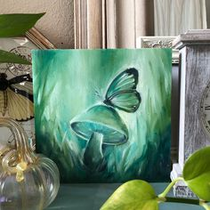 Green Abstract Butterfly and Mushroom Painting - Sierra Briggs Art