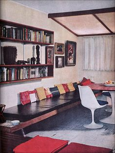 1960 Modern Home Office - loving the looong bench seat and cushions