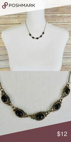 "💜Black gem necklace Black gem necklace, 12"" length. Jewelry Necklaces"