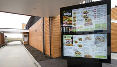 Outdoor Menu Board for Restaurant Brands. Digital drive through – using IP65 rated outdoor DMB which withstand the weather elements to display menu items.