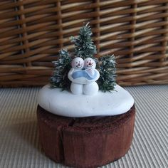 hand sculpted polymer clay Sweetheart snowmen with new baby boy miniature winter scene by JessiesCornerClay on Etsy