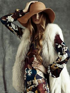 Faux Fur Vest paired with Wool Floppy Hat