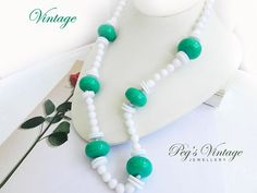 Retro White And Green Lucite Bead by PegsVintageJewellery on Etsy, $14.00