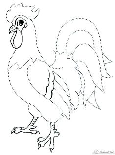 Розмальовки З'єднай по точках Дитяча розфарбування півень, з'єднай і розфарбуй