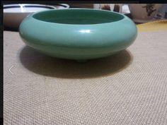 Haeger flat vase round sea green planter paid $2 @ value village thrift