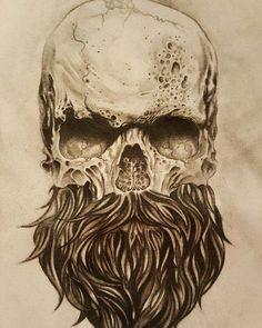 skull with beard tattoos - Yahoo Image Search Results Bild Tattoos, Neue Tattoos, Body Art Tattoos, Sleeve Tattoos, Tattoo Ink, Drawing Tattoos, Koch Tattoo, Bart Tattoo, Tattoo Crane