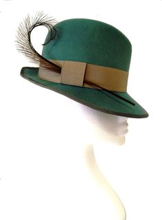 Duck egg blue trilby with grey trim by www.fifilabelle.com