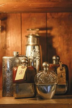 Beautiful antique flasks at We Took to the Woods.