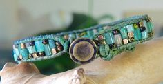 Rustic GREEN JADE Gemstone Beaded Leather от BraceletsofBlueRidge