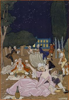 Illustration by George Barbier, Fêtes Galantes by Paul Verlaine, Watercolour, H. Piazza et Cie, Paris. Engraved on wood and enhanced with gold and silver by hand. Art Deco Illustration, Illustrations, Woodblock Print, Moda Art Deco, Paul Verlaine, Art Deco Stil, Canvas Art, Canvas Prints, Art Prints
