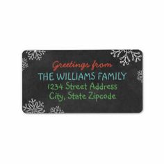 Holiday Greeting Address Labels | Black Chalkboard