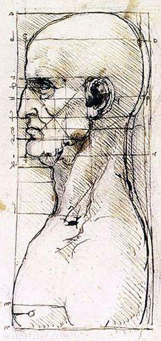 -Leonardo da Vinci Study of Proportion of a man's profile