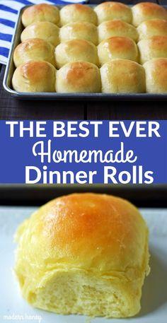 The Best Homemade Dinner Rolls – Modern Honey Homemade Buns, Homemade Dinner Rolls, Homemade Yeast Rolls, Homemade Breads, Best Homemade Rolls Recipe, Best Roll Recipe Ever, Homemade Dinners, Snacks Homemade, Homemade Vanilla