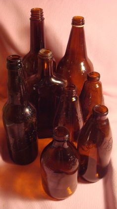Your place to buy and sell all things handmade Brown Bottles, Amber Bottles, Liquor Bottles, Amber Glass, Glass Bottles, Small Bottles, Vintage Bottles, Reuse, Glass Art