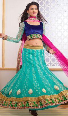 Greenish Blue Net A Line Lehenga Choli Price: Usa Dollar $168, British UK Pound £99, Euro124, Canada CA$182 , Indian Rs9072.