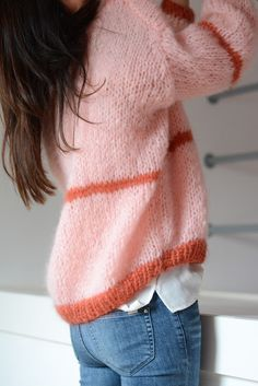 Pink and red knit cardigan Knitwear Fashion, Knit Fashion, Pullover Upcycling, Mohair Sweater, Pink Sweater, Knit Cardigan, Jumper, Knit Wrap, Mode Style