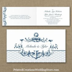 Perfect for a nautical wedding theme is this Love Sets Sail Invitation with its anchor design.  www.PrintedCreationsWeddingStore.com   #nauticalweddinginvitations