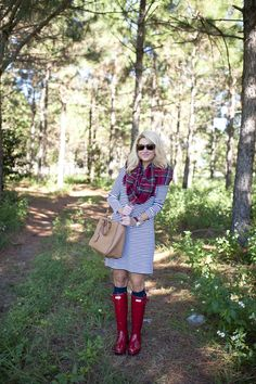 Stripe Dress with Plaid Scarf and Hunter Boots