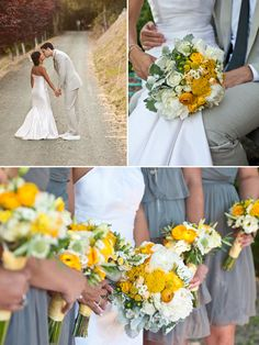 Amy Nichols Special Events Napa Valley (St. Helena) Wedding - Lisa Lefkowitz Photography - yellow florals on Brooklyn Bride! Yellow & white bouquet with Dusty Miller by Spiral Hand Design + Grey Jcrew bridesmaids dresses