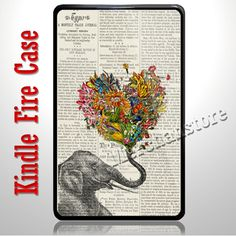 Elephant Love Newspaper Design Kindle Fire Case